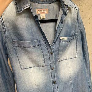 Guess jeans soft flowy denim blouse